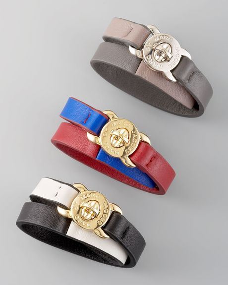 Marc By Marc Jacobs Lasercut Leather Katie Bracelet in Multicolor (gray)