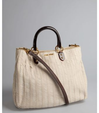 Miu Miu Cream Woven Leather Convertible Tote - Lyst