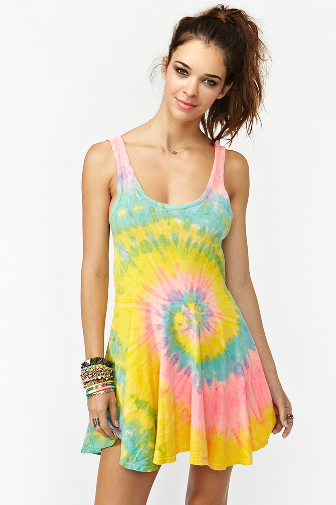 Lyst Nasty Gal Deadstock Tie Dye Dress In Black