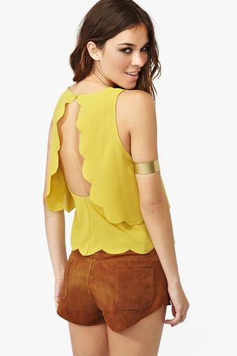 Nasty Gal Scalloped Cutout Tank Chartreuse - Lyst