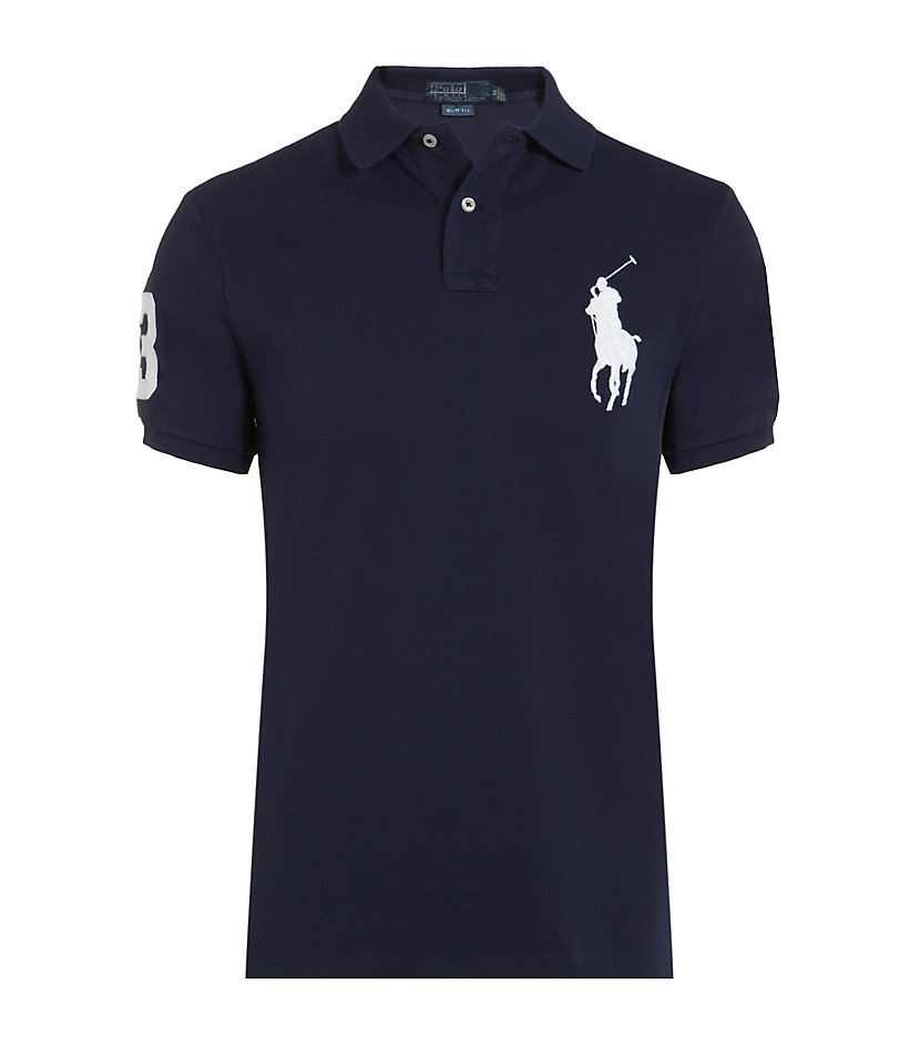 polo ralph lauren slim fit big pony polo shirt in blue for