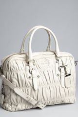 Prada Grey Gaufre Pleated Leather Crossbody Tote in Gray (grey) - Lyst