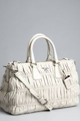 Prada Grey Gaufre Pleated Leather Crossbody Tote - Lyst