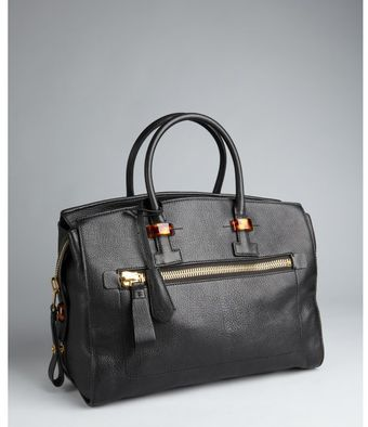 Tom Ford Black Pebbled Leather Tortoise Detail Tote Bag - Lyst