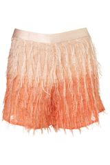 Topshop Coral Dip Dye Fringe Shorts in Orange (coral) - Lyst