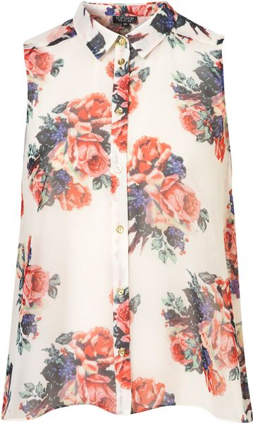 Topshop Floral Print Drop Back Shirt in Floral (multi) - Lyst
