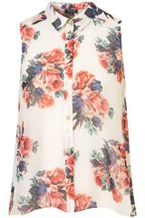 Topshop Floral Print Drop Back Shirt