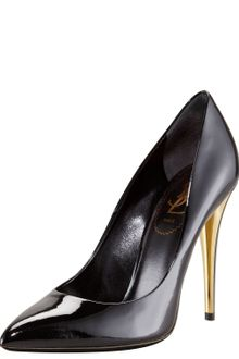 Yves Saint Laurent Patent Leather Pointed Toe Pump - Lyst