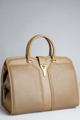 Yves Saint Laurent Taupe Perforated Leather Cabas Chyc Tote in Brown (taupe) - Lyst