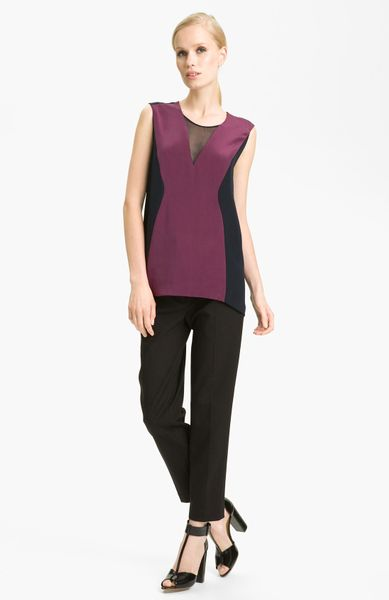 3.1 Phillip Lim Trompe Loeil Silk Top in Purple (berry/ navy) - Lyst