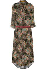 Alice + Olivia Belted Floralprint Silk Shirt Dress - Lyst