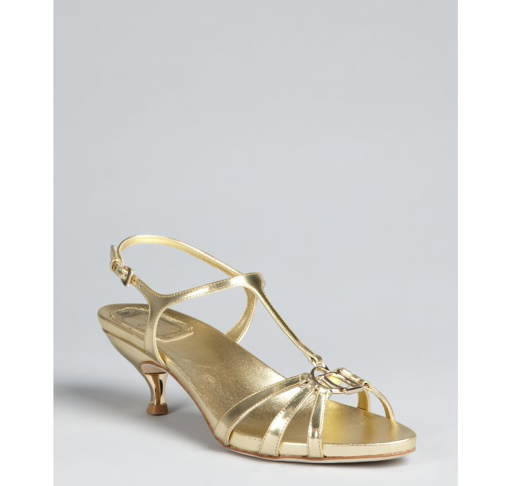 Dior Gold Leather T-strap Kitten Heel Sandals in Metallic | Lyst