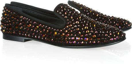 Giuseppe Zanotti Swarovski Crystalembellished Suede Loafers in Brown (black) - Lyst