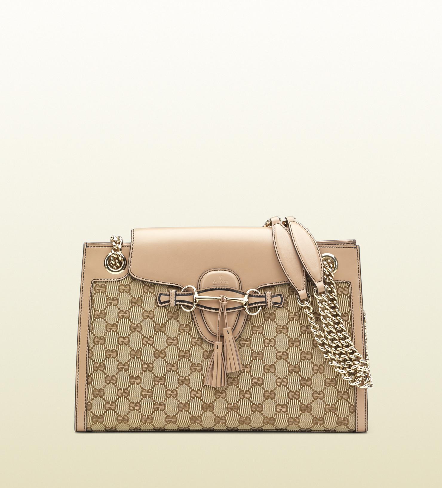 4dc9f68239768 Lyst - Gucci Emily Original Gg Canvas Chain Shoulder Bag in Natural