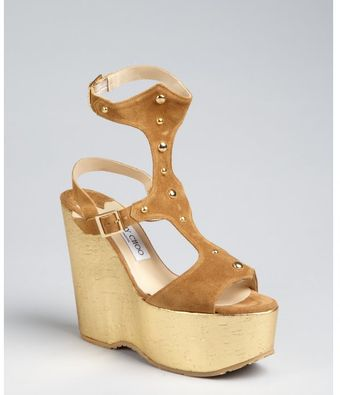 Jimmy Choo Nutmeg Studded Suede Frenzy Gladiator Wedges - Lyst