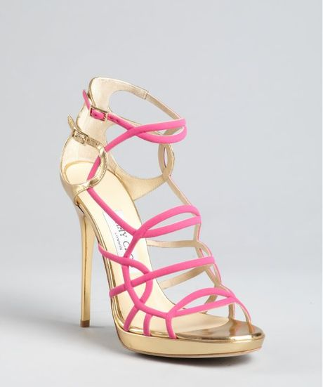 Jimmy Choo Hot Pink and Gold Leather Bunting Caged Sandals in Pink - Lyst