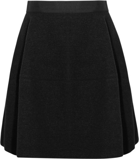 Lanvin Doublefaced Stretch wool Felt Bubble Skirt in Black - Lyst
