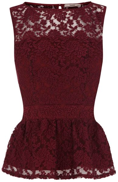 Oasis Lace Peplum Top in Purple - Lyst