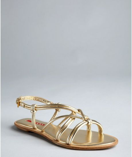 Prada Prada Sport Gold Leather Strappy Sandals In Gold Lyst