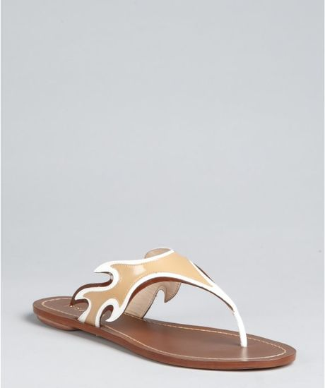 Prada Khaki Patent Leather Flame Thong Sandals in Beige (khaki) - Lyst