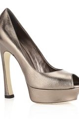 Yves Saint Laurent Palais Leather Peep Toe - Lyst