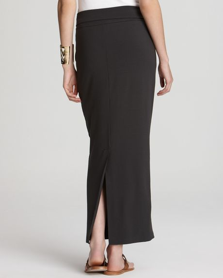 eileen fisher foldover maxi pencil skirt in black