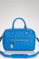 Marc Jacobs Satchel Quilted Leather Manhattan in Blue (black w  nickel) - Lyst