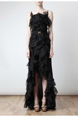 Nina Ricci Belted Ruffle Silk Gown in Black - Lyst