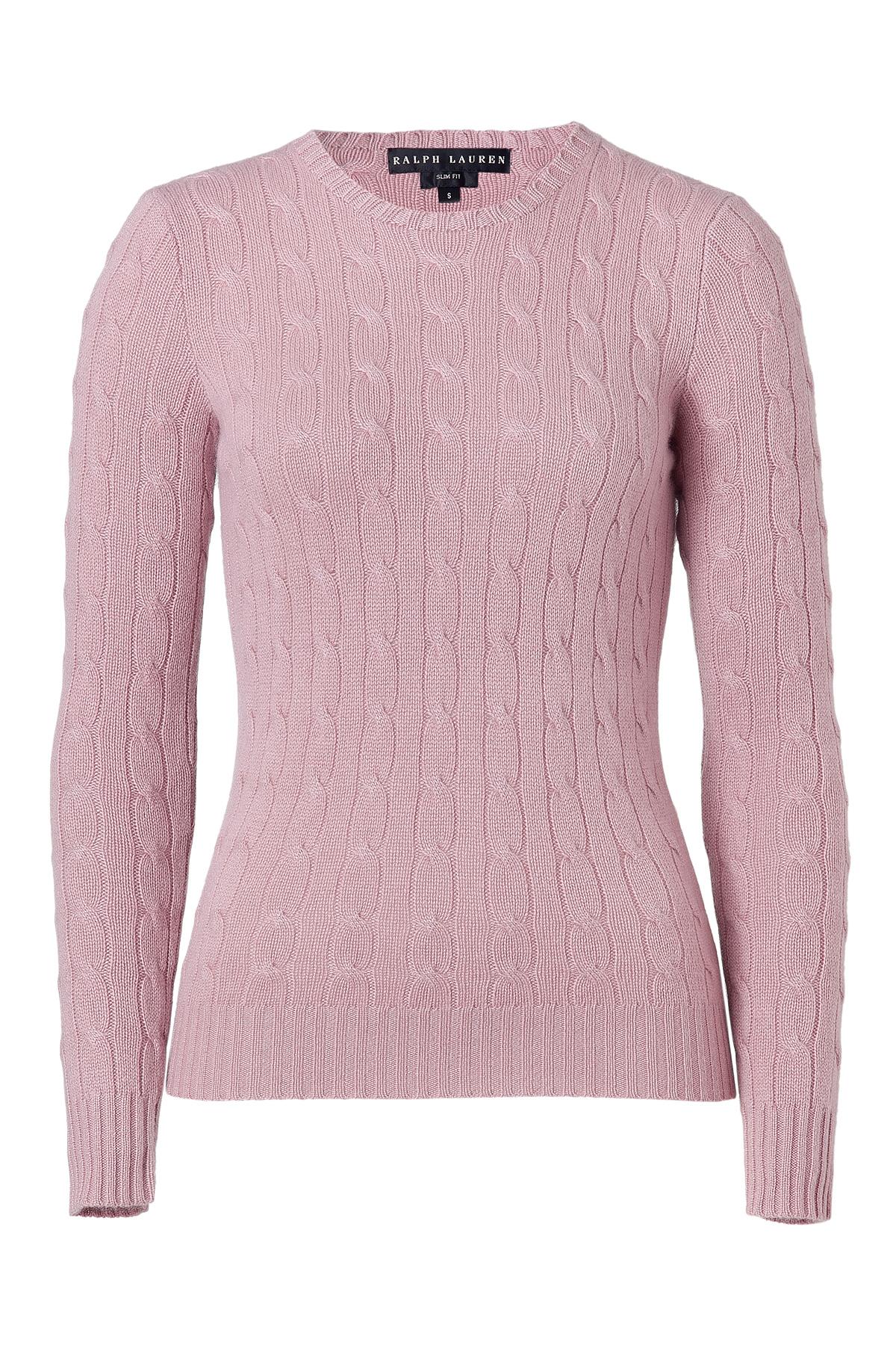 ralph lauren soft pink cashmere cable pullover in pink lyst. Black Bedroom Furniture Sets. Home Design Ideas