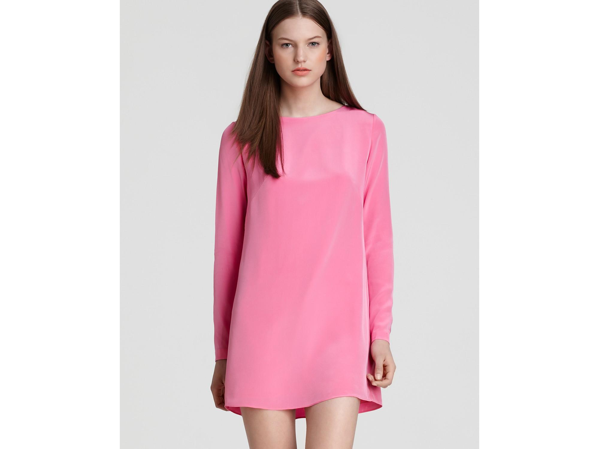 Tibi Shift Dress Long Sleeve in Pink | Lyst