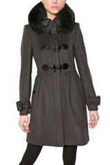 Burberry Fur Wool Cashmere Cloth Trench Coat - Lyst