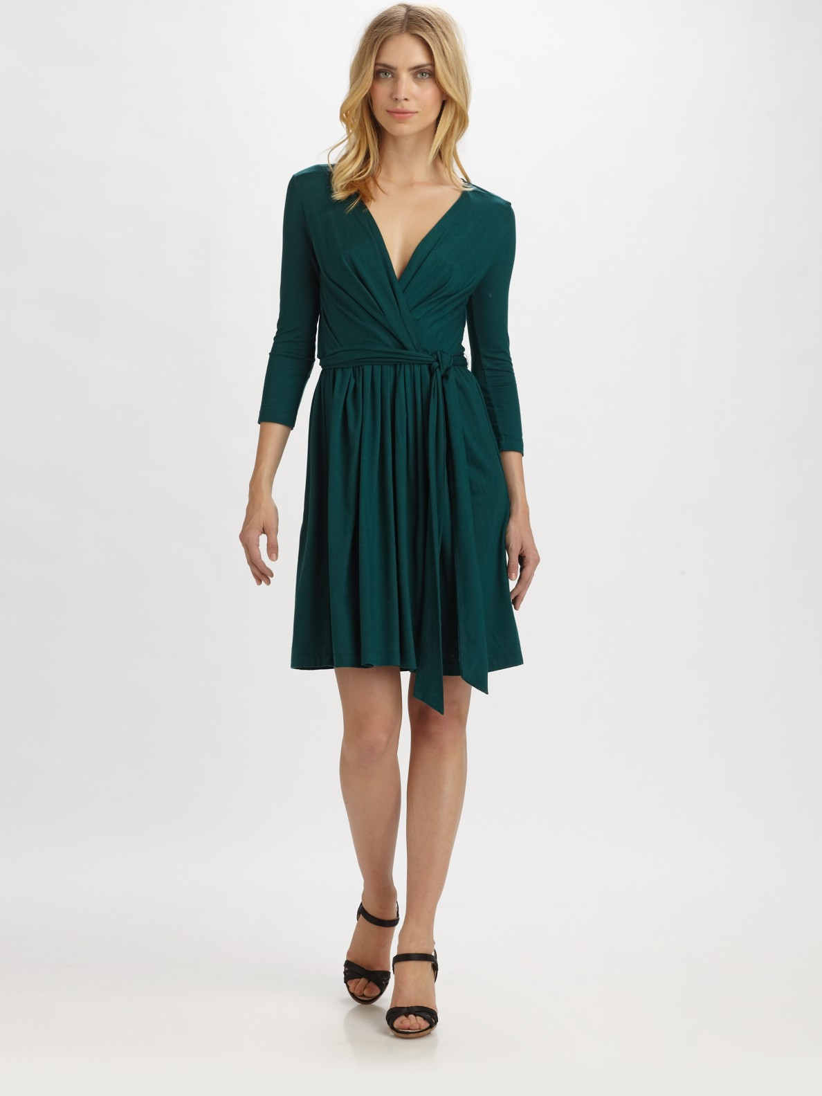 Dkny Jersey Wrap Dress In Green Lyst