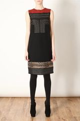 Giambattista Valli Embellished Virgin Wool Knit Dress in Red (black multi) - Lyst