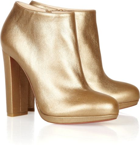 Christian Louboutin Rock Amp Gold 120 Metallic Leather Ankle Boots in Gold