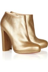 Christian Louboutin Rock Amp Gold 120 Metallic Leather Ankle Boots - Lyst