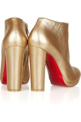 Christian Louboutin Rock Amp Gold 120 Metallic Leather Ankle Boots in Gold - Lyst