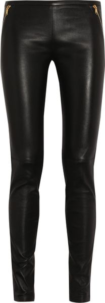 Emilio Pucci Stretch Leather Skinny Pants in Black - Lyst