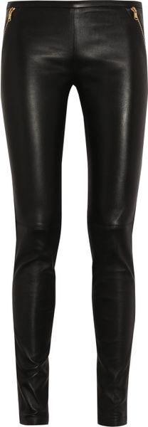 Emilio Pucci Stretch Leather Skinny Pants in Black