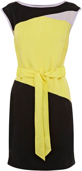 Karen Millen Draped Colourblock Colle in Yellow (multi-coloured) - Lyst