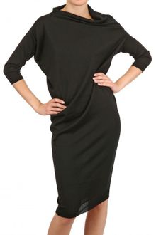Lanvin Draped Merino Extra Fine Knit Dress - Lyst