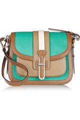 Michael Kors Gia Saddle Colorblock Leather Shoulder Bag - Lyst
