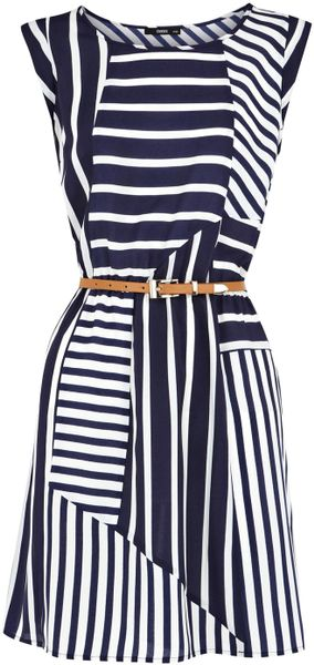 Oasis Stripe Belted Tunic Dress - Lyst