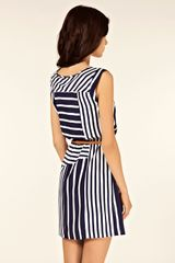 Oasis Stripe Belted Tunic Dress in Blue - Lyst