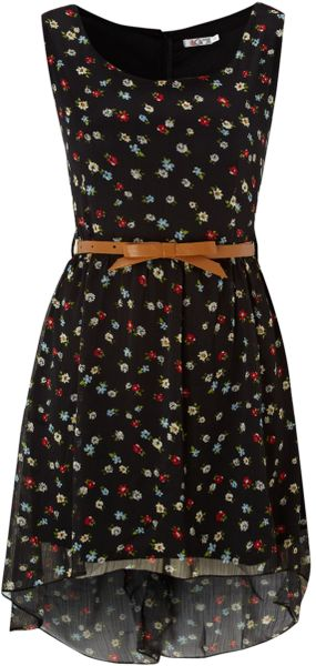 Wal-g High Low Floral Print Dress in Black - Lyst