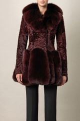 Alexander Mcqueen Astrakhan and Fox Fur Coat in Purple (bordeaux) - Lyst