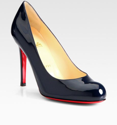 Christian Louboutin Simple 100 Patent Pumps in Black (navy) - Lyst