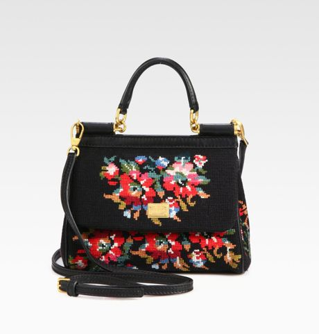 Dolce & Gabbana Mini Miss Siciliy Cross Stitched Top Handle Bag in Black - Lyst