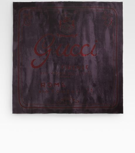 Gucci Silk Square Scarf in Purple for Men (black) - Lyst