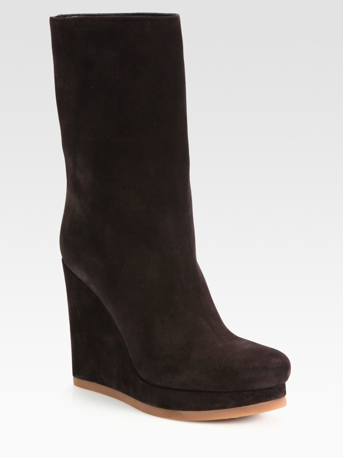 jil sander suede midcalf wedge boots in brown darkbrown