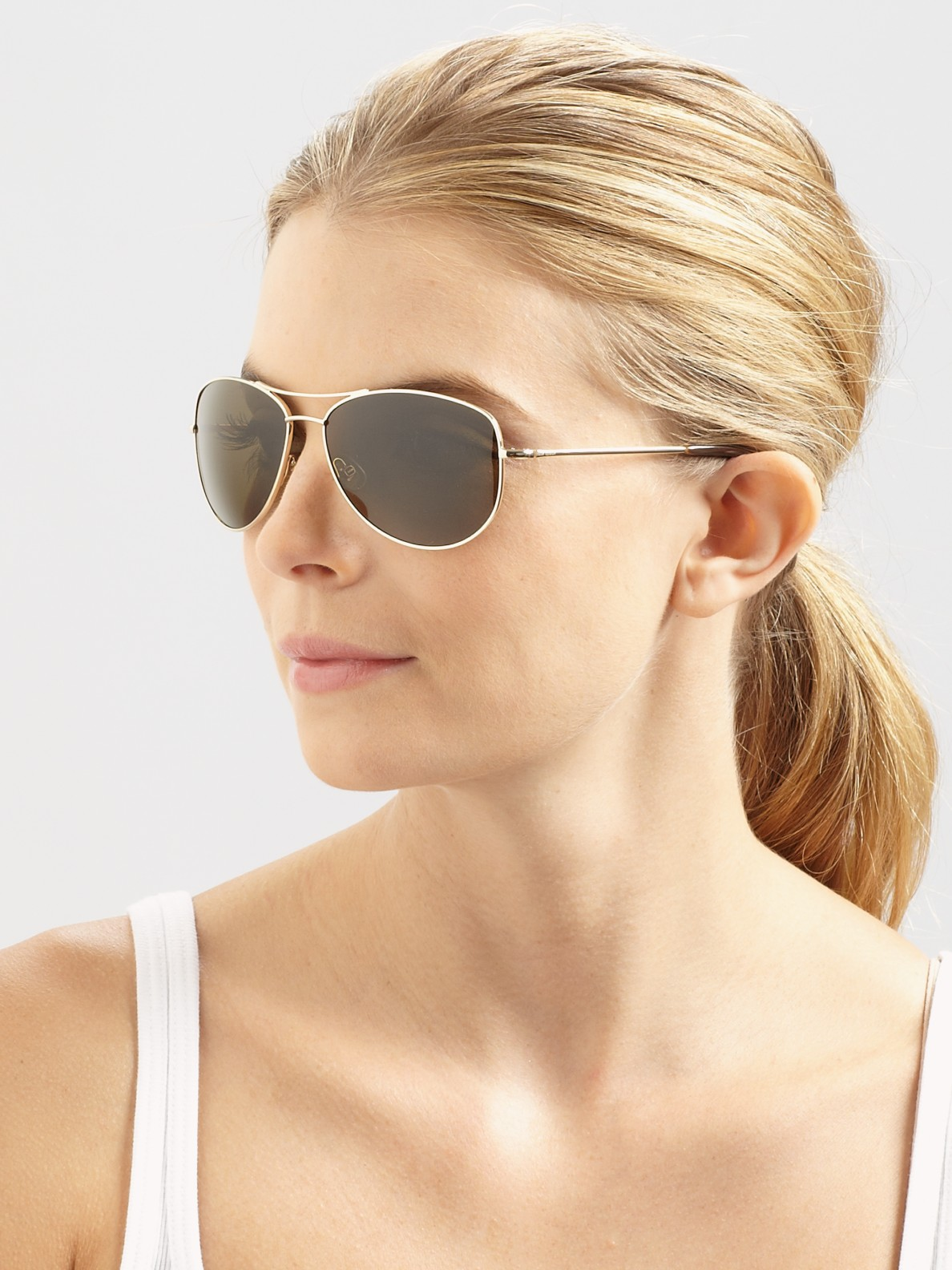 a788ad5250 Lyst - Kate Spade Ally Polarized Metal Aviator Sunglasses in Brown